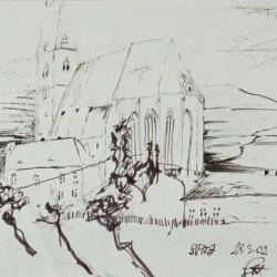 Kirche v. Spitz - Tuschezeichnung / 30x40