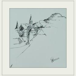Blick a. Eisenerz / Tuschezeichnung 40x40