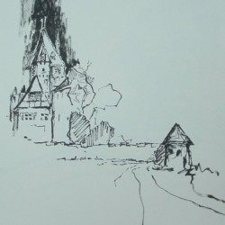 Schloss Leopoldstein / Tuschezeichnung 40x40