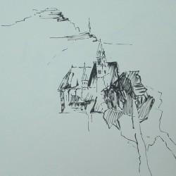 Eisenerz / Tuschezeichnung 40x40