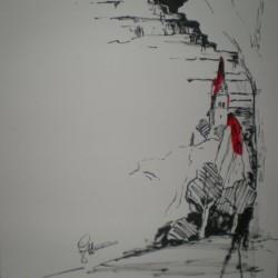 Schichtturm i. Eisenerz - Tuschezeichnung 40x40